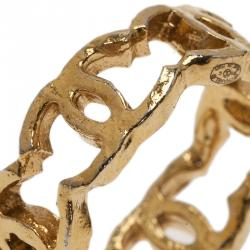 Chanel CC Gold Tone Ring Size 53
