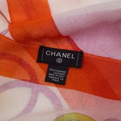 Chanel Multicolor Cashmere CC Logo & Floral Printed Scarf