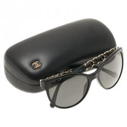 Chanel Black 5215Q CC Chain Cat Eye Sunglasses