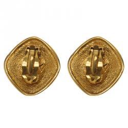 Chanel Vintage CC Logo Rhombus Gold Tone Clip On Stud Earrings