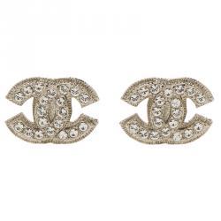 Chanel CC Crystal Medium Silver Tone Clip-On Stud Earrings