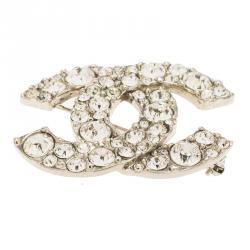 Chanel CC Crystals Silver Tone Medium Pin Brooch