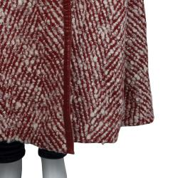 Chanel Red and White Buckle Detail Long Wool Overcoat M