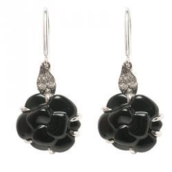 f28d95d92 Chanel Camelia Onyx Sculpte Diamond 18k White Gold Hook Earrings