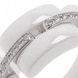 Chanel Diamonds 18 K White Gold & Ceramic Ultra Ring Size 56