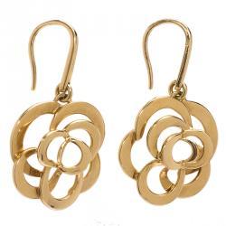 Chanel Camelia Yellow Gold Earrings