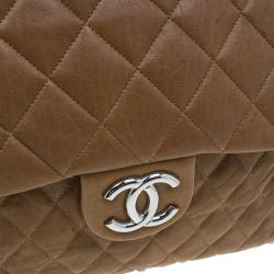 Chanel Brown Leather Maxi Chain Around Flap Bag