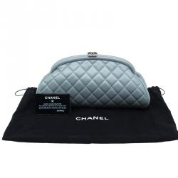 Chanel Grey Quilted Leather Timeless Clutch