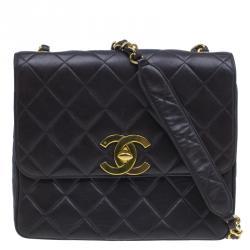 Chanel Black Quilted Leather CC Logo Large Shoulder Flap Bag