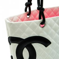 Chanel White Quilted Leather Ligne Cambon Large Tote