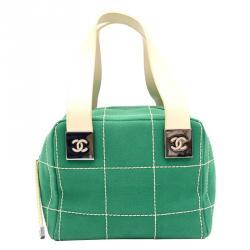 Chanel Green Stitched Canvas Small Boston