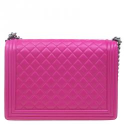 Chanel Pink Quilted Leather Large Boy Flap Bag