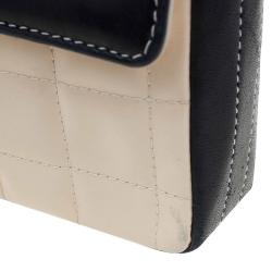 Chanel Beige/Black Bar Quilted Patent East West Flap Bag