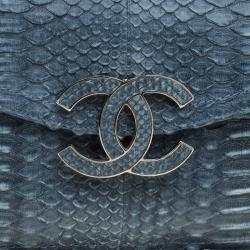Chanel Teal Python Sensual CC Clutch Bag