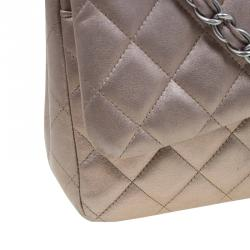 Chanel Bronze Quilted Leather Jumbo Classic Double Flap Bag
