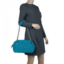 Chanel Turquoise Quilted Bubble Jersey Snake Effect Chain Bag
