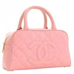 Chanel Pink Quilted Caviar Small CC Bowling Bag