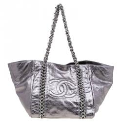 014942bc5de604 Chanel Silver Glazed Crackled Leather Small Modern Chain Tote