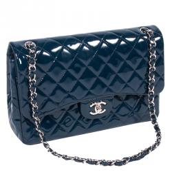 Chanel Dark Blue Quilted Patent Leather Jumbo Classic Double Flap Bag