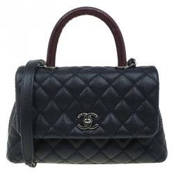 Chanel Navy Blue Quilted Caviar Leather Small Lizard Handle Coco Flap Bag