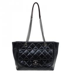 56e7c9f6638d Chanel Black Glazed Leather Petite Shopper Tote