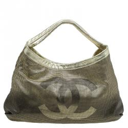 2058078353f2 Chanel Gold/Black Leather Hollywood CC Hobo