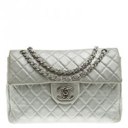32a6960ef8b465 Chanel Grey Quilted Iridescent Leather Maxi Classic Single Flap Bag