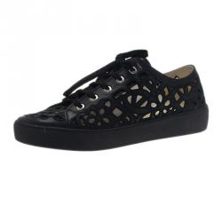 Chanel Black Flower Cutout Leather Sneakers Size 39