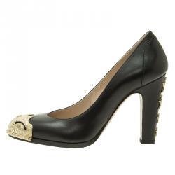 Chanel Black Leather Paris-Dallas Star Studded Pumps Size 38