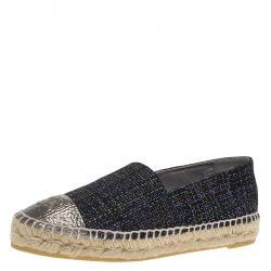 Chanel Blue Tweed and Silver CC Cap Toe Espadrilles Flats Size 37