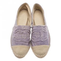 Chanel Purple Canvas CC Logo Espadrilles Size 35