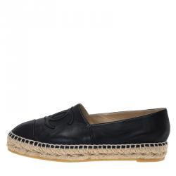 Chanel Black Leather CC Espadrilles Size 37