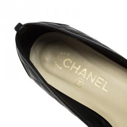 Chanel Black Quilted Leather Metal Cap Toe Ballet Flats Size 37.5