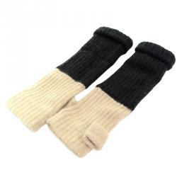 Chanel Black and Beige Wool Fingerless Gloves