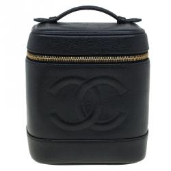 Chanel Black Caviar Leather Vanity Case