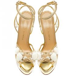 Charlotte Olympia Gold Leather and PVC She Sells Sea Shells Ankle Wrap Platform Sandals Size 39