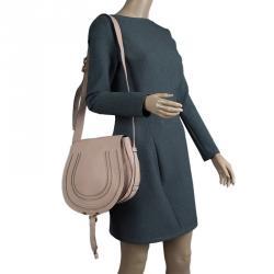 Chloe Blush Nude Leather Medium Marcie Crossbody Bag