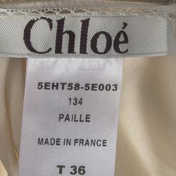 Chloe Beige Silk Lace Trim Detail Camisole S