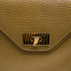 Chloe Mustard Pebbled Leather Medium Sally Flap Shoulder Bag