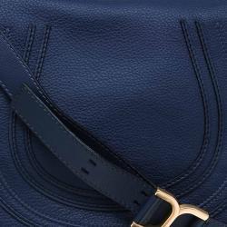 Chloe Blue Pebbled Leather Medium Marcie Crossbody Bag