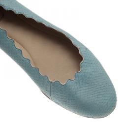 Chloe Blue Lauren Python Embossed Ballet Flats Size 38.5