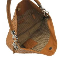 Dior Brown Leather Woven Charm Hobo