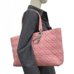 Dior Pink Cannage Leather Large Lady Dior Tote