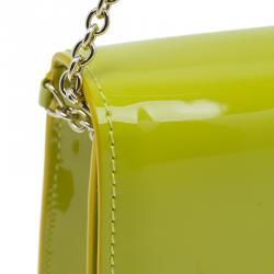 حقيبة كلتش كريستيان لوبوتان ريفيرا جلد لامع صفراء