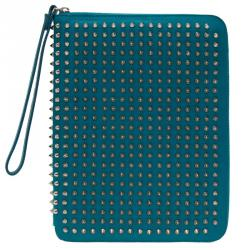 Christian Louboutin Teal Spiked Leather Cris iPad Case