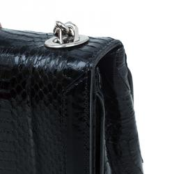 حقيبة كريستيان لوبوتان سبايك جلد ثعبان أسود للكتف