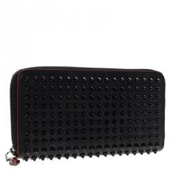Christian Louboutin Black Leather Studded Spike Continental Wallet