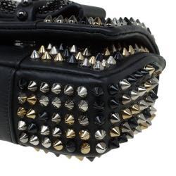 حقيبة كروس كريستيان لوبوتان صغيرة سويت شاريتي مسامير سبايك جلد سوداء