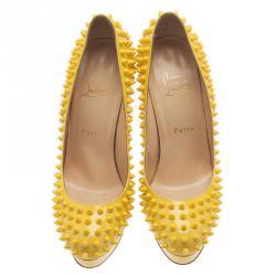 Christian Louboutin Yellow Patent Leather Bianca Spiked Platform Pumps Size 38.5