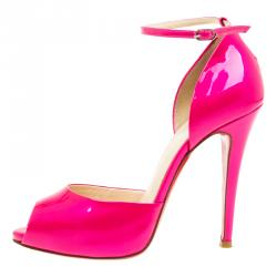 Christian Louboutin Pink Patent Gardner D'Orsay Ankle Strap Pumps  Size 37